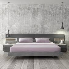 Modern Platform Bed Frames Braga Grey Lacquer Wood Contemporary Platform Bed J M Furniture