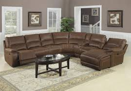 Sectional Sofa With Recliner Brown Suede Like Padded Microfiber Reclining Sectional Sofa