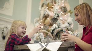 Mother Daughter Christmas Ornaments The Mother Daughter Dresses Up Christmas Tree Stock Footage Video
