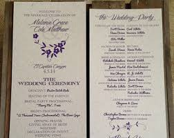 wedding program layouts reception program etsy