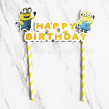 minions cake toppers minion happy birthday yellow striped straw cake topper