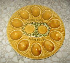 deviled egg holder vintage deviled egg platter chicken plate by detroitrockabetty