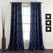 Navy Blue And White Striped Curtains by