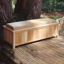 cedar creek large cushioned cedar storage bench in benches u0026 storage