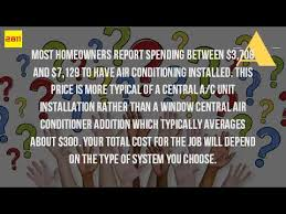 Central Air Conditioning Estimate by How Much Does It Cost To Install A Air Conditioning Unit