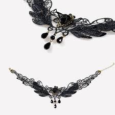 black rose necklace images Yazilind black rose flower lace gothic lolita beads jpg