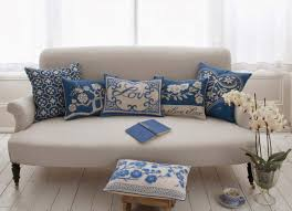new blue and white sofa on furniture with dark grey velvet