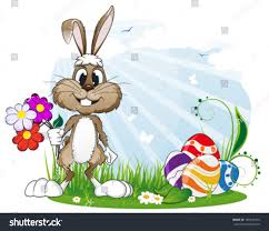 happy bunny easter eggs flowers meadow stock vector 185739410