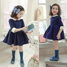 new kids girls dress navy blue princess half sleeve girls autumn