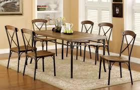ricciardo industrial wooden bronze dining table set