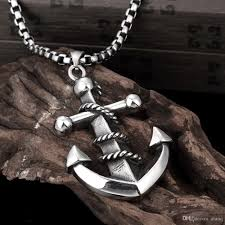 silver necklace black pendant images Wholesale charming boys fashion retro stainless steel boat anchor jpg