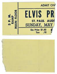 ticket stub album lot detail may 13 1956 st paul minnesota elvis