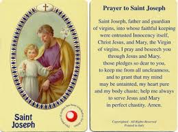 prayer card center joseph holy card with 3rd class relic