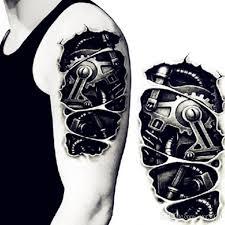 tattoo 3d mechanical temporary tattoos 3d black robot mechanical arm fake transfer tattoo