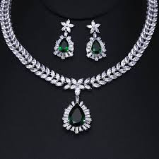 zircon necklace sets images Clear white wedding jewelry sets cubic zircon bridal earrings jpg