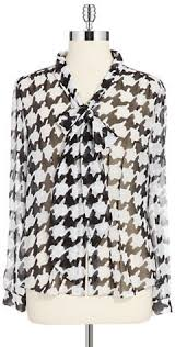 houndstooth blouse tahari arthur s levine tie neck houndstooth blouse where to buy