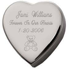 baby urn child memorial heart cremation box with free text engraving