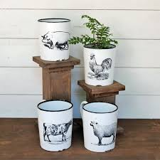 animal planter enamel farm animal planter with handle antique farmhouse