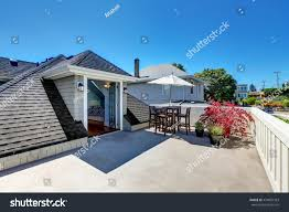 craftsman house roof top terrace living stock photo 474055363