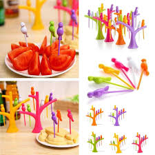 6pcs easy bird fruit snack dessert forks tree shape holder for