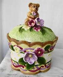 cherished teddies ceramic cookie jar by glitteringdragonfly