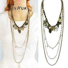 antique necklace chains images Vintage jewelry long necklace multi layer chains maxi necklaces jpg