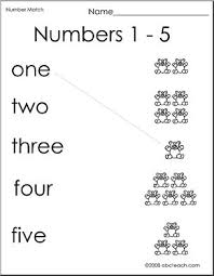 match numbers to bears 1 5 preschool primary b w worksheet
