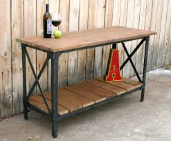 Reclaimed Kitchen Island Wood U0026 Metal Industrial Rustic Console Table Accent Table Liquor
