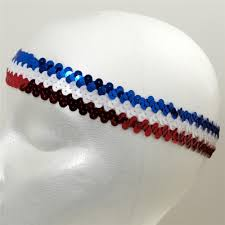 white and blue headband 1 1 4 metallic stretch sequin headband white blue discount