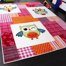 tapis de chambre enfant tapis chambre d enfant moderne chouette à carreaux multicolore