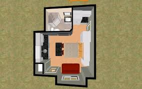 3d top view of the 296 sq ft