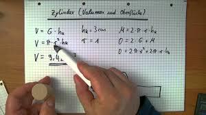 fläche zylinder berechnen oberfläche und volumen vom zylinder berechnen