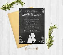 and the beast wedding invitations and the beast wedding invitation rustic chalkboard