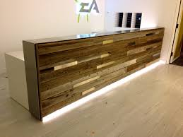 Wood Reception Desk Reclaimed Wood Reception Desk Estudio Receptions Of And Rustic