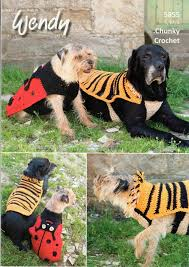 crochet pattern for dog coat wendy 5855 crochet pattern ladybird and tiger dog coats in mode