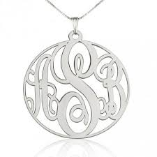 circle monogram necklace sterling silver circle monogram necklace abc necklace