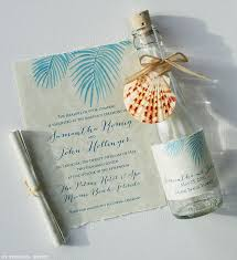 wedding invitations miami wedding invitations painted palm fronds glass bottles