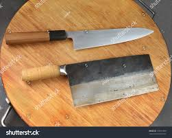 Chinese Kitchen Knives by Japanese Chef Knife Gyuto Alongside Chinese Stock Photo 155031599