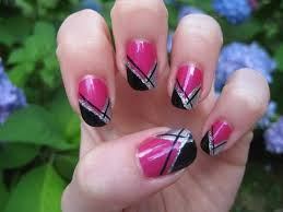 girly abstract french nail tutorial originally done by bennabop