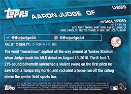 Aaron Judge Made His Mlb Debut In Center Field - com 2017 topps update baseball us99 aaron judge rookie