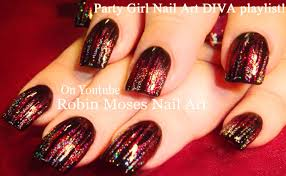 red striped nail art with holo glitter nails design tutorial youtube