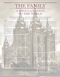 family proclamation lds proclamation to the world of god