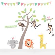 pastel jungle animal wall stickers wall sticker nursery and room pastel jungle animal wall stickers