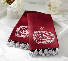 christmas towels we wish you a merry christmas guest towels set of 2 pottery barn