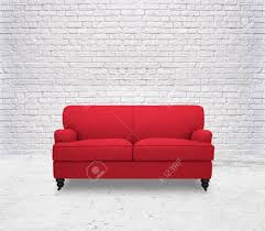 Red Sofa Furniture Modern Red Sofa In White Room Brick Wall Stock Photo Picture And