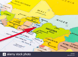 Map Of Ghana Africa by Red Arrow Pointing Benin On The Map Of Africa Continent Stock