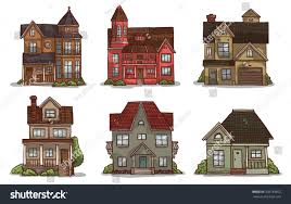 set cute small cartoon houses made stock vector 358139072