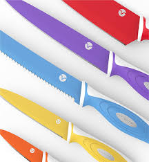 amazon com vremi 10 piece colorful knife set 5 kitchen knives amazon com vremi 10 piece colorful knife set 5 kitchen knives with 5 knife sheath covers chef knife sets with carving serrated utility chef s and