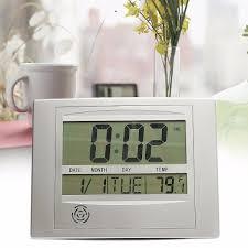 wall mounted digital alarm clock self setting digital lcd calendar wall clock indoor thermometer