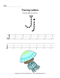 tracing letters j u2014 instant worksheets